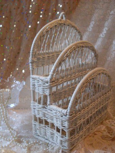 Shabby Chic Decorative 3 Tier Vintage Wicker Organizer Basket BostonBackBay Collectibles We Ship Internationally