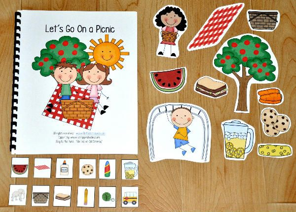 """Let's Go on a Picnic"" Adapted Song Book--Adapted Song Books teach common vocabulary words through songs.   This Adapted Song Book, ""Let's Go on a Picnic,"" teaches picnic themed vocabulary words, and is sung to the familiar tune, ""On Top of Old Smokey.""  Students match the pictures and sing along as the teacher or therapist sings the song and moves through the pages.  After the song is complete, students engage in a sorting activity that focuses on classifying picnic objects."