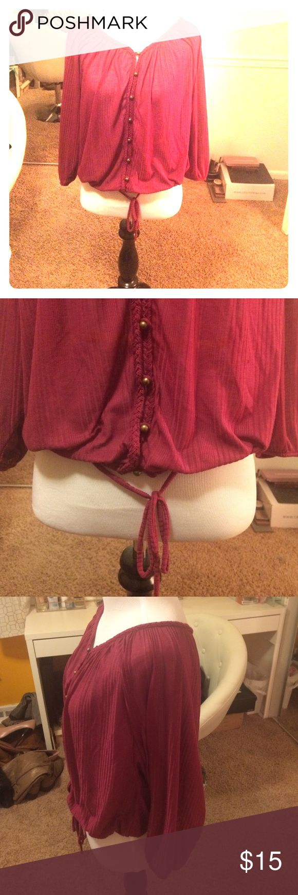 American Rag peasant blouse American Rag brand peasant blouse, size medium, sheer, maroon, button down front w/gold buttons, drawstring tie at waist American Rag Tops Blouses