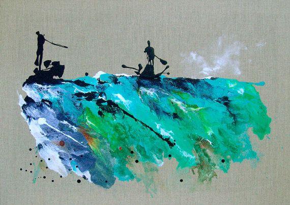 Sports Art abstrait paysage peinture à l'eau voile Kayak Bleu Turquoise Catherine Jeltes