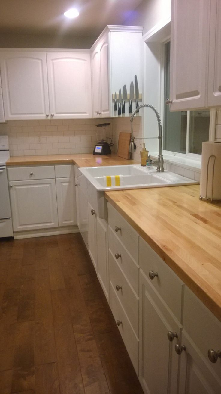 DIY Kitchen Oak Cabinets Painted Annie Sloan Pure White Chalk Paint, Ikea  Domsjo Farm Sink, Butcherblock Countertops Sealed With Waterlox, And White  Matte ...