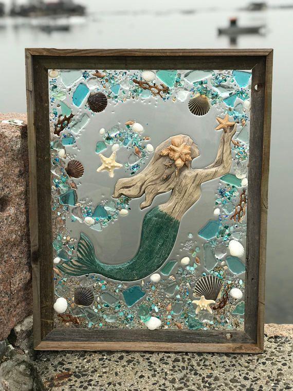 This Is A Handmade One Of A Kind Sea Glass Beach Glass Art Piece This Artwork Features A Beach Mixed Media D Sea Glass Art Sea Glass Crafts Glass Window Art