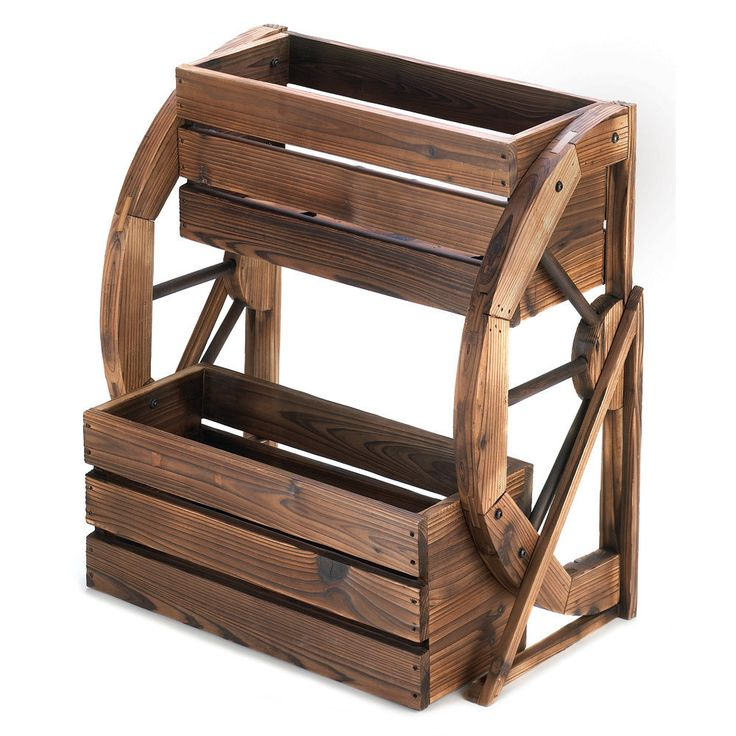 Wooden Wagon Wheel Double Planter Country Garden Decoration Lawn Ornament Wood #HomeLocomotion
