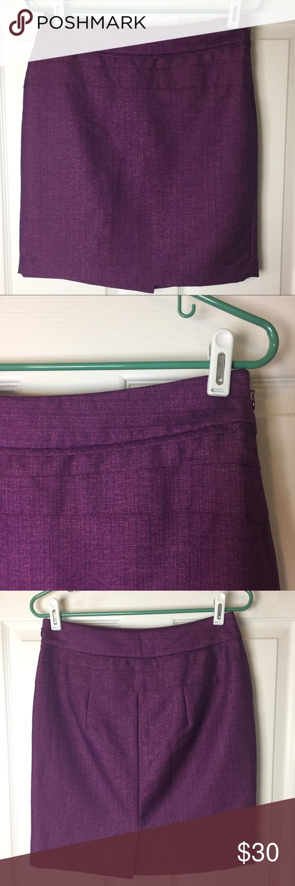 """The Limited purple pencil skirt size 4 Gently used. Polyester and viscose rayon blend. Side zipper. Back slit. 14.5"""" across waist. 18"""" long. The Limited Skirts Pencil"""