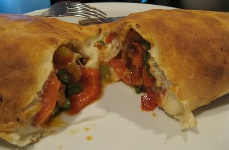 Homemade calzone--I would make with store bought pizza dough and serve with marinara on the side :)