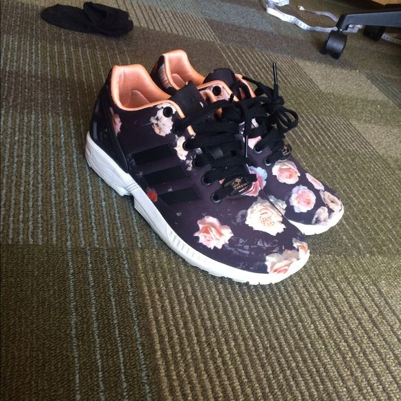 Adidas ZX Flux black pink and white roses 9/10 condition. Very comfortable. Size 8 &1/2 Adidas Shoes Sneakers