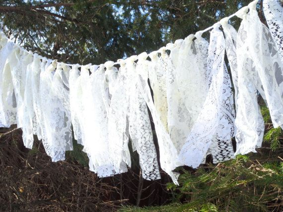 Lace Garland White Ivory Boho Chic Banner Rag by SeacliffeCottage