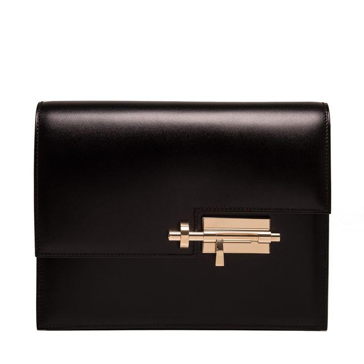 Hermes Black Box Verrou Clutch with light gold permabrass hardware