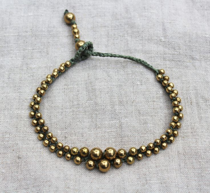Brass macramé anklet, Boho tribal anklet with brass beads, moss green, adjustable length by WildWomansHeart on Etsy