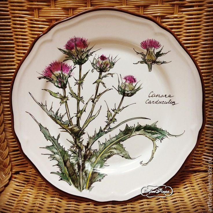 """Купить Тарелка фарфоровая """"Полевые цветы. Чертополох"""" - фуксия, тарелка, Тарелка декоративная, тарелка сувенирная"""