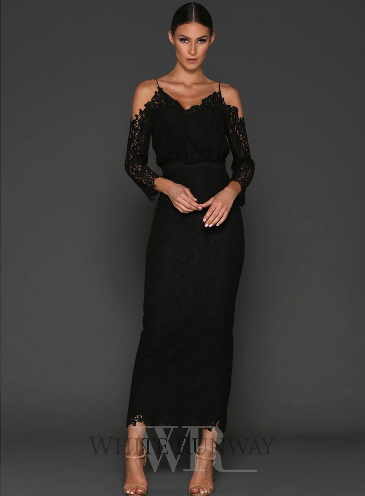 Kendra Dress. A gorgeous lace dress by Elle Zeitoune. A v-neck style featuring a blouson bodice, cut out shoulders and long sleeves.