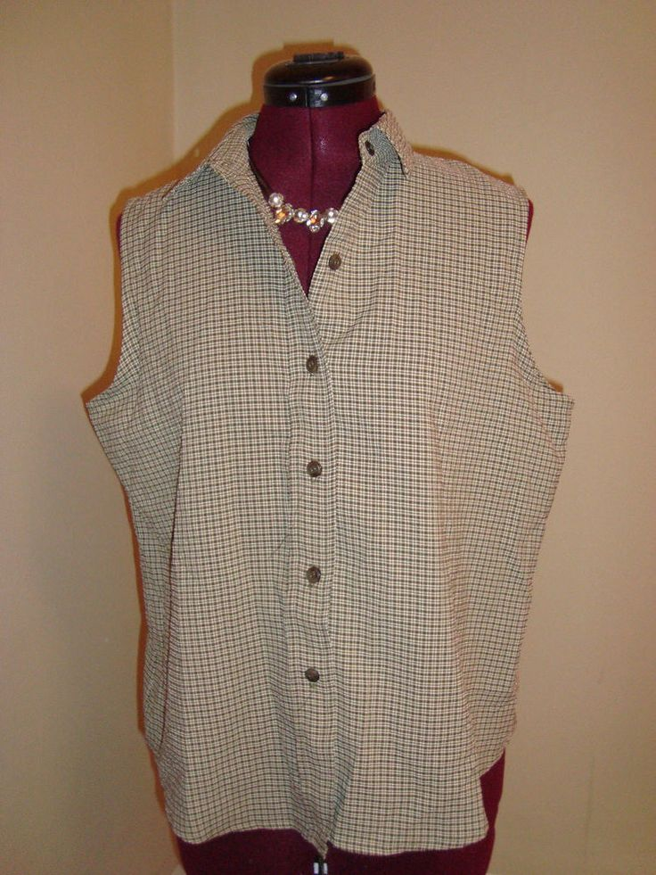 Company Collection Sz Medium Petite Women's Green Plaid Check Button Up Shirt #CompanyCollection #ButtonDownShirt