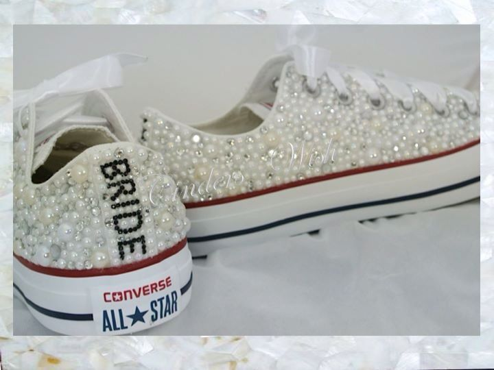 1fc129e798d3 All over pearls converse   wedding converse    vintage  pearls  personalised…