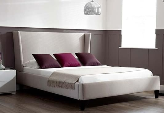 Get Meredith Upholstered Bed online in Cream. The king size upholstered bed induce luxe grace to the bedroom with its design. Fabric bed is a promising choice amongst the range of comfortable bedsteads. Buy upholstered beds online #Pune #Chandigarh #Gurgaon