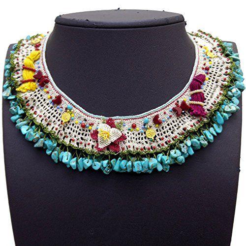 Needle lace turquoise stone handmade necklace NC387