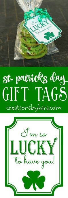 St Patricks Day Gift tags - use these free printable clover gift tags for your favorite leprechauns! A great St. Patrick's day gift idea. via @creationsbykara.com