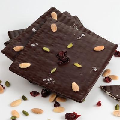 chocolate-covered matzo garnished with kosher salt, sliced almonds ...