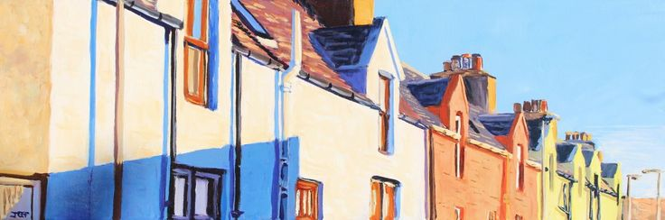 New Street, Scalloway Acrylic on canvas 12x36 inches December 2014  This piece depicts a terrace of Victorian houses facing the ocean on New Street in Scalloway, Shetland. The Booth art residence is immediately in front and below these houses.  I liked the different colours at sunset. Very evocative of the Shetlands.