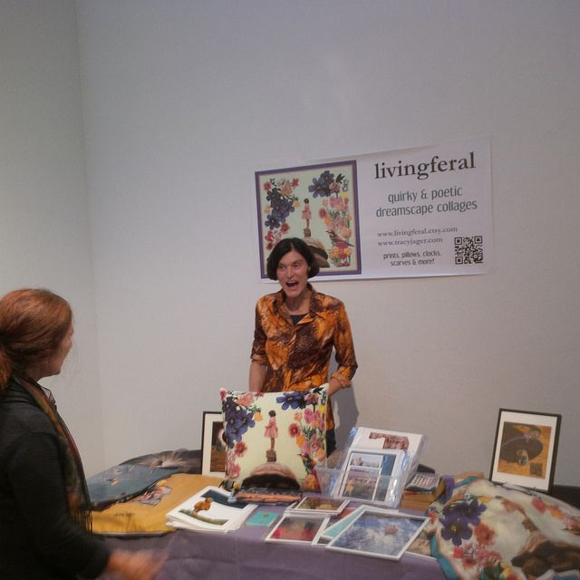 me (livingferal) at my table on preview night - Art Market @ Emily Carr University, Vancouver - Sept. 26