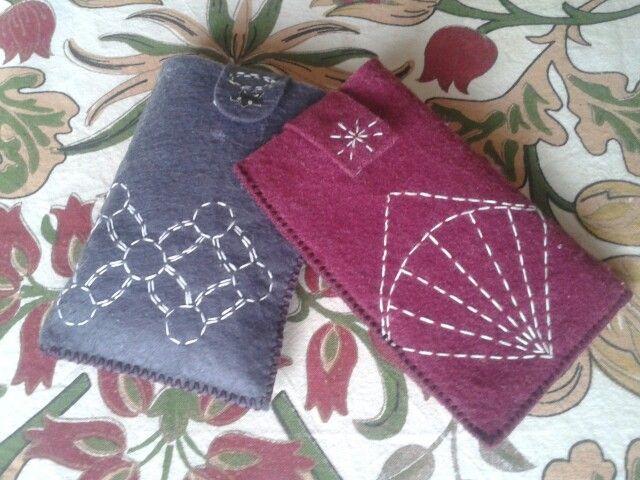Sashiko embroidery - mobile cases / telefono dėkliukai siuvinėti Sašiko
