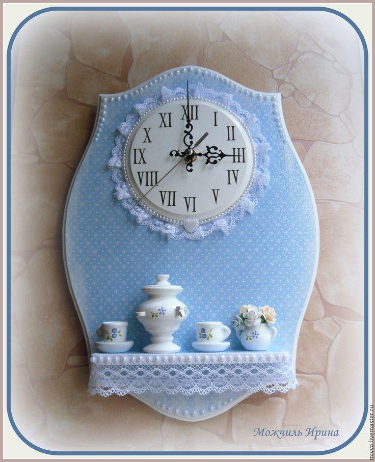 """Часы с полочкой """"Морозное утро (зимнее чаепитие)"""""""