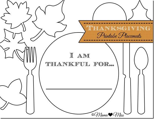 Printable Thanksgiving Placemats (Mama Miss Blog)