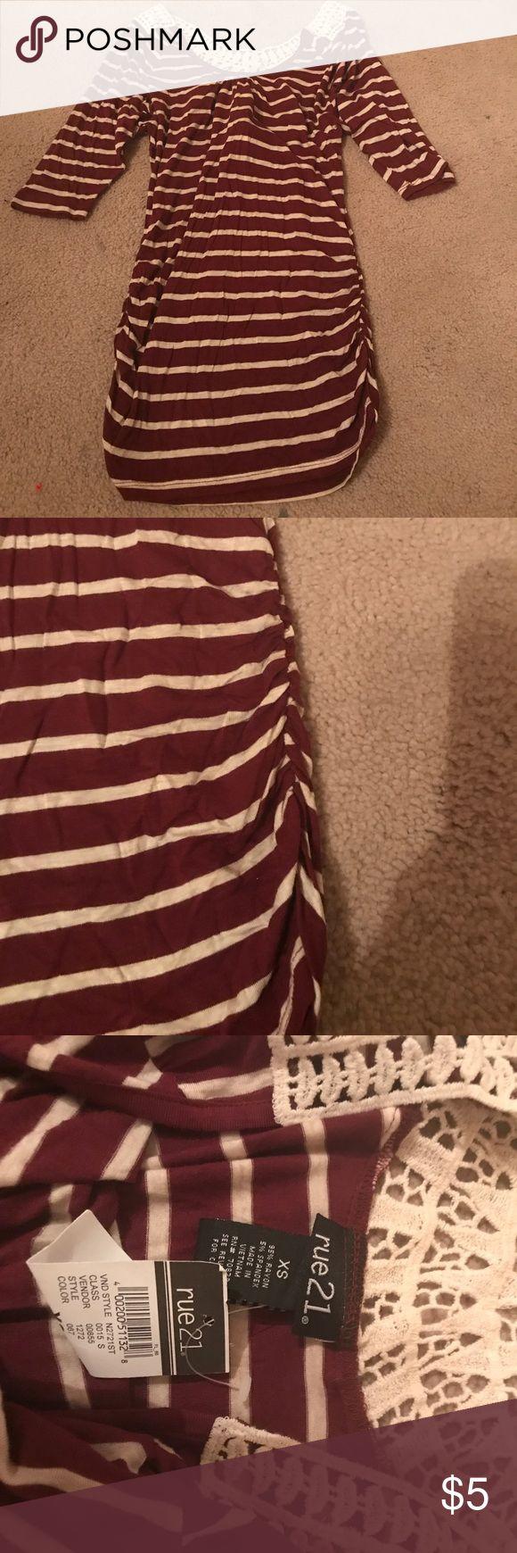 NWT Rue 21 burgundy & cream striped with crotchet NWT Rue 21 XS burgundy & cream striped with crotchet back Rue 21 Tops Tees - Short Sleeve