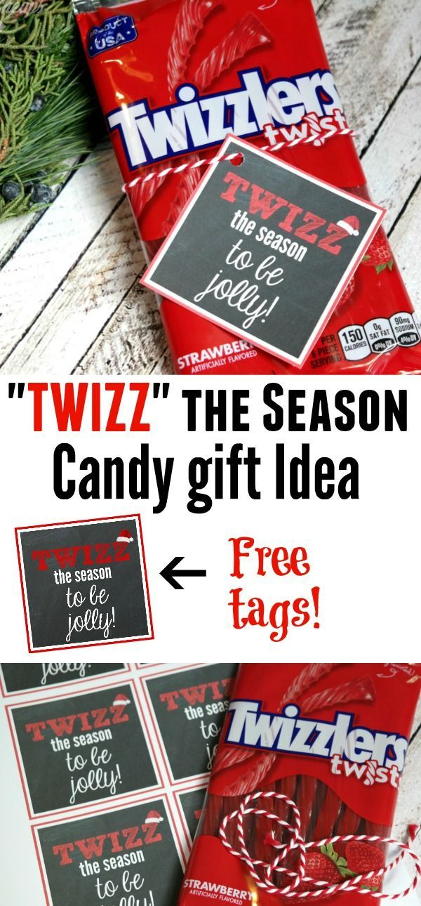 Great and easy gift idea using Twizzlers!!  Get the free gift tags here: https://www.mamacheaps.com/2017/12/twizz-the-season-to-be-jolly-twizzler-candy-gift-idea-printable-tag.html