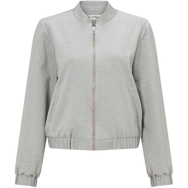 Miss Selfridge Grey Ponte Bomber Jacket ($52) ❤ liked on Polyvore featuring outerwear, jackets, grey, women, miss selfridge, ponte jacket, bomber style jacket, grey jacket and blouson jacket