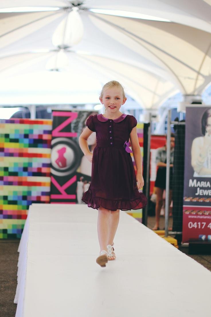 Girls chiffon dress in royal purple @ the Sydney family fashion show .  www.elfinkidz.com