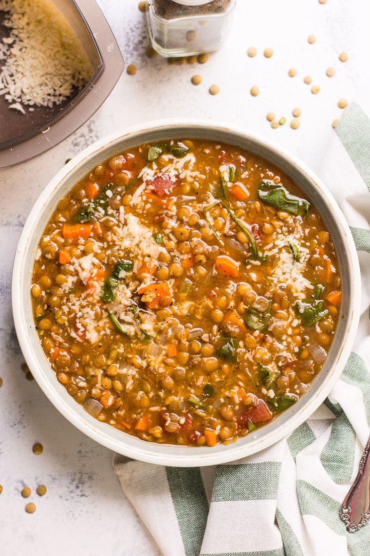 Instant Pot Lentil Soup Recipe is simple and healthy, with only 5 mins of prep. Made in a pressure cooker with green lentils, tomatoes and spinach, then served with Parmesan cheese. Win $100 Amazon Gift Card by cooking this recipe.