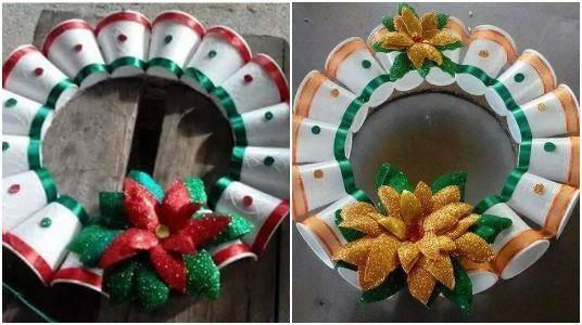 ¿Sabías que se pueden hacer coronas navideñas con unos vasos plásticos? Gracias al reciclaje podemos hacer muchos adornos de Navidad, hoy te voy a mostrar varias ideas para que hagas unas bellas coronas únicamente uniendo