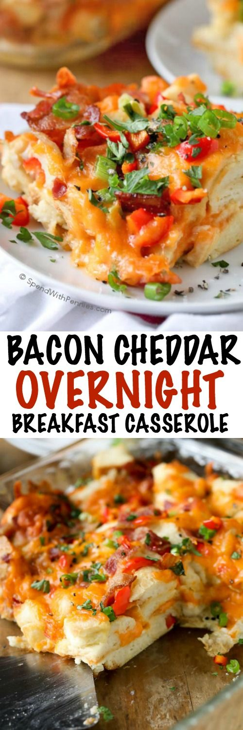 This easy Overnight Breakfast Casserole is quick to prep in the evening and then baked up fresh and delicious in the morning!  Cheese, bacon, bell peppers and green onions are layered with bread and soaked in a seasoned egg mixture.  This is the perfect meal to serve on a holiday morning or for guests.