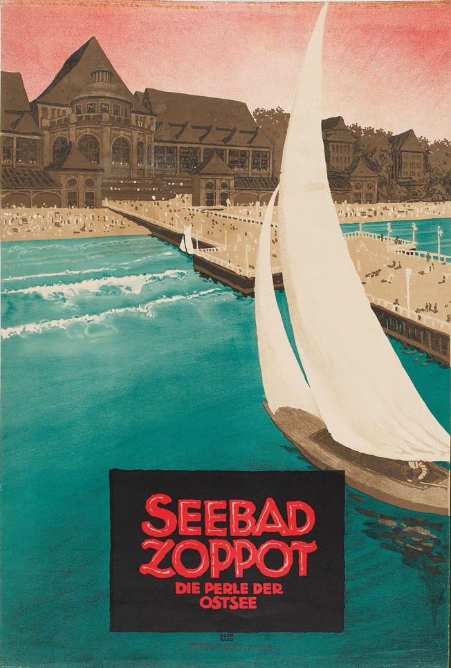 Lucian Bernhard, Seebad Zoppot, die Perle der Ostsee, 1910.. Hessisches Landesmuseum