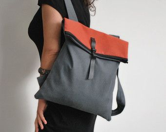 Convertible backpack Messenger bag Gray-brown by misirlouHandmade