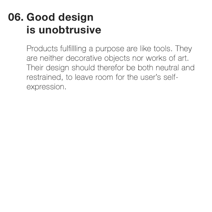 Good Design Quotes: Point 6 Of Dieter Ram's 10 Principles Of Good Design; Good