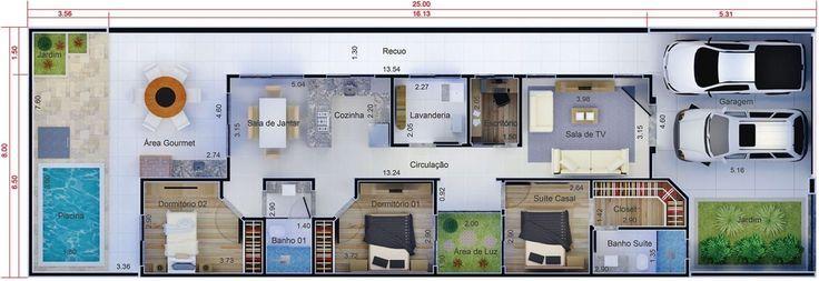 Plano de casa práctico y funcional. Plano para terreno 8x25