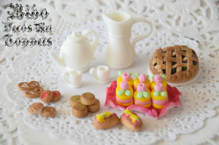 Edible 3D Tea Set Cake Decoration Fondant Topper , Birthday Cake Topper by BiboDecosArtToppers on Etsy