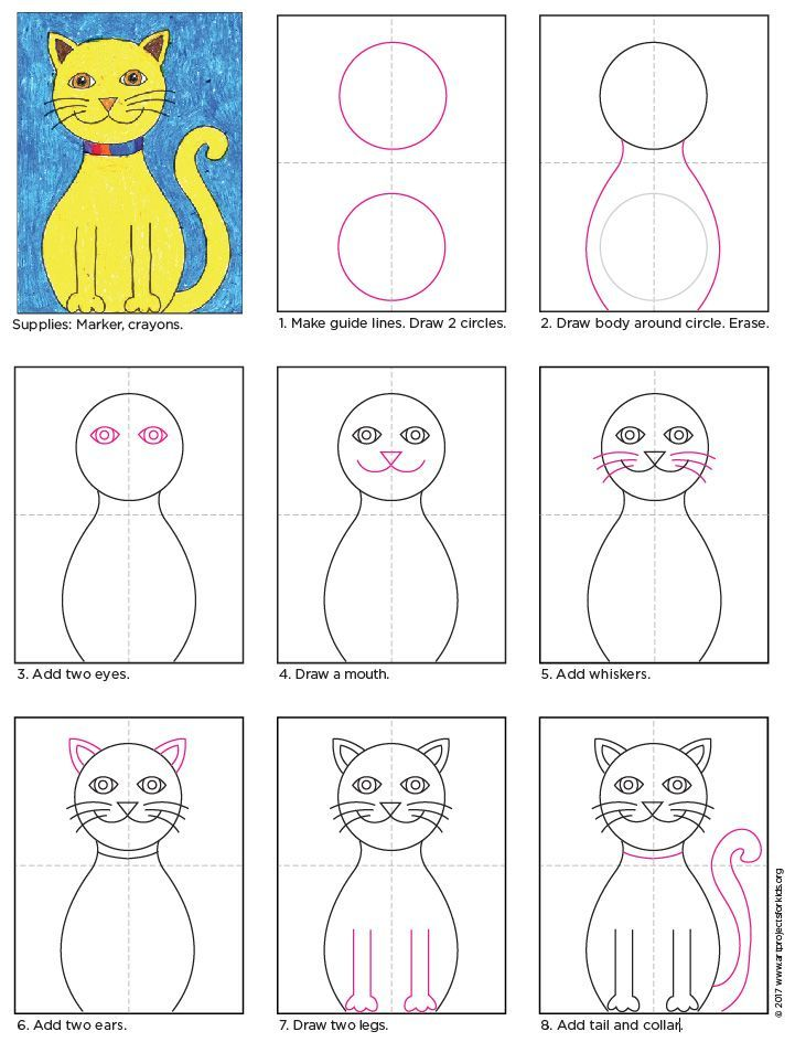 Draw A Cat Art Projects For Kids Simple Cat Drawing Drawing For Kids Kids Art Projects