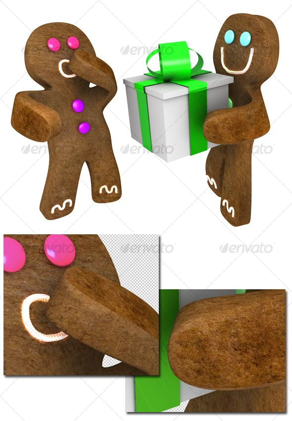 Gingerbread man giving present to friend $4.00