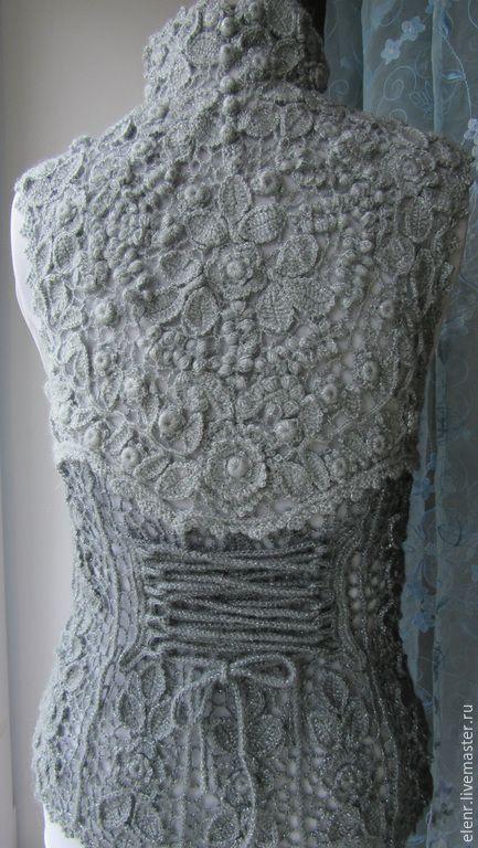 """Купить Жилет """"Джейн - 2"""" - темно-серый, цветочный, ирландское кружево, жилет, вязаный жилет"""