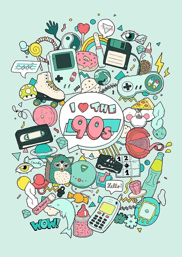 I love the 90s 90s Art 90s Illustration, gameboy, furby, tamagotchi, 90er available as print: www.farbenkind.at