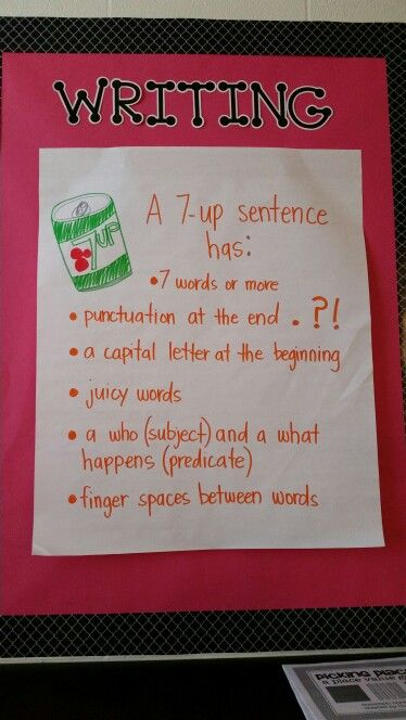 In third grade we talk about how four word Sentences are a great place to start...but how can you make that sentence a 7-UP sentence?? Helps them to add adjectives and adverbs to their writing.