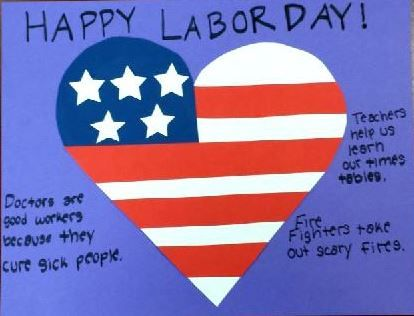 Adorable I heart American workers Labor day craft for kids!