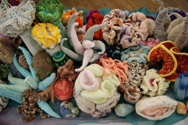 Rainbow Reef community craft, a knitted and crocheted coral reef. via Design Hunter - UK interiors & lifestyle blog