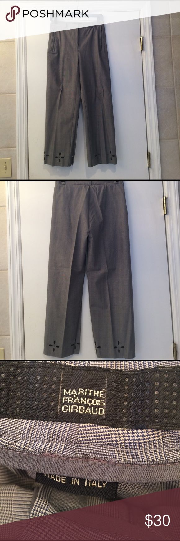 """Marithe Francois Girbaud cropped plaid pants sz 27 Black and white plead cropped pants, side slit zippered pockets, floral cutout at bottom. Belt loops. 61% cotton, 34% nylon, 5% spandex. Waist 14"""" across, inseam 25"""". Marithe Francois Girbaud Pants Ankle & Cropped"""