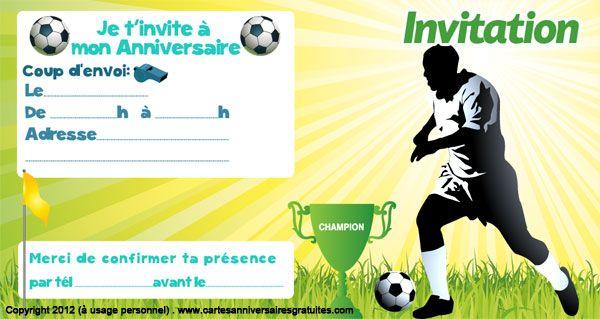 Bevorzugt Invitation anniversaire sur le thème du football, est la nouvelle  AE69