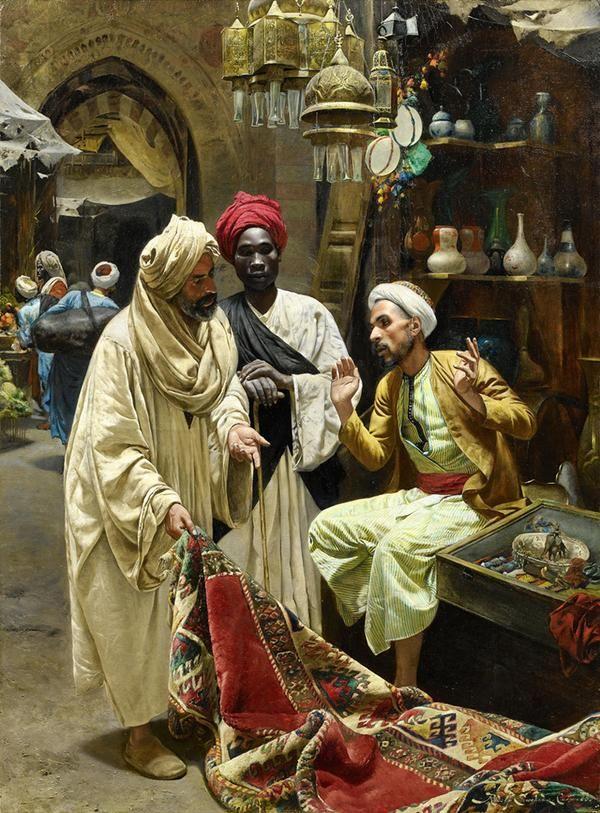 بائع السجاد، القاهرة، 1885. لوحة للنمساوي رودولف سوبودا. كان البائع ينهض من على مقعده ليجلس عليه المشتري كعادة مصرية.