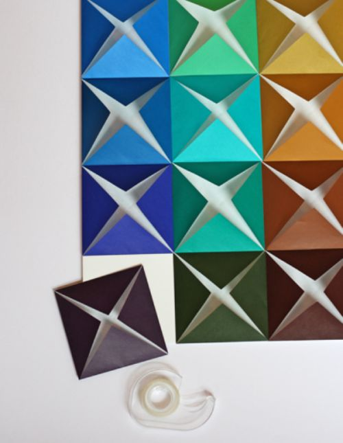 Cool DIY Wall Art Of Colored Paper | Shelterness