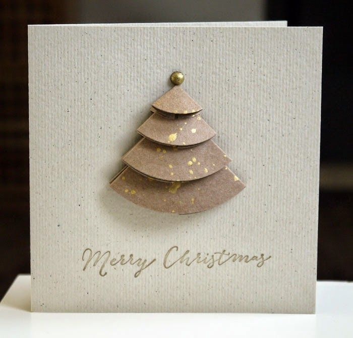 handmade Christmas card ... origami pieced tree in kraft with gold grunge splats ... clean and simple design ... luv it!